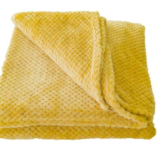 Κουβέρτα Coral Fleece Μουσταρδί