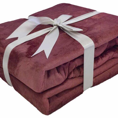 Κουβέρτα Super Soft Βουργουνδίας