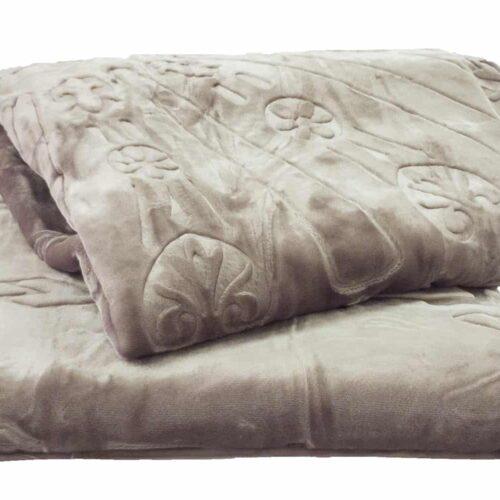 Κουβέρτα βελουτέ υπέρδιπλη γκρι