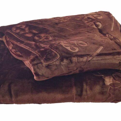 Κουβέρτα βελουτέ υπέρδιπλη καφέ