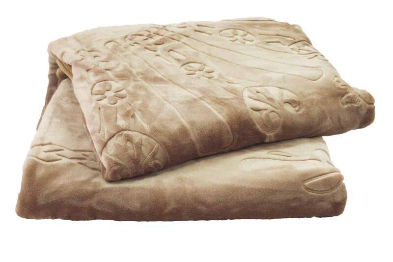 Κουβέρτα βελουτέ υπέρδιπλη μπεζ