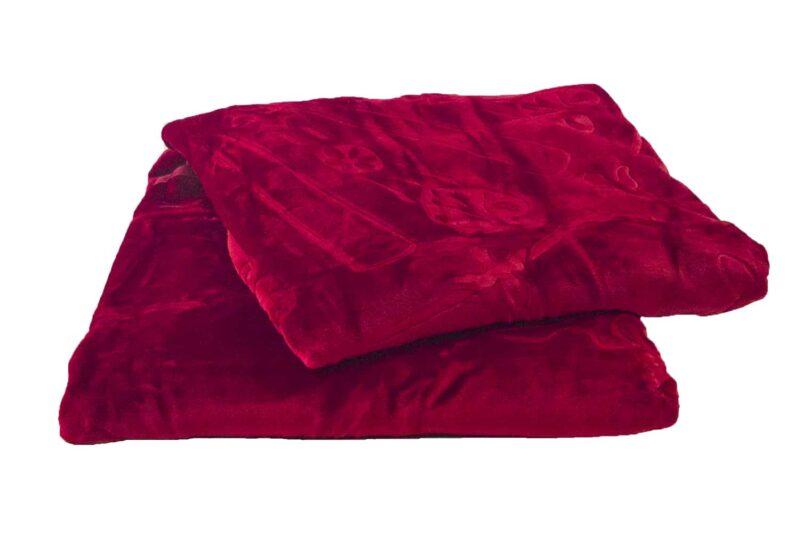 Κουβέρτα βελουτέ υπέρδιπλη μπορντώ