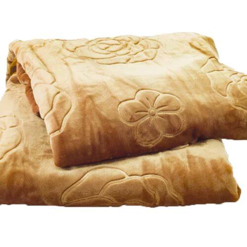 Κουβέρτα βελουτέ υπέρδιπλη χρυσαφί