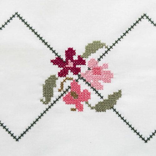 Μαξιλαροθήκες με κέντημα ανθάκια καρό ροζ κοντινό