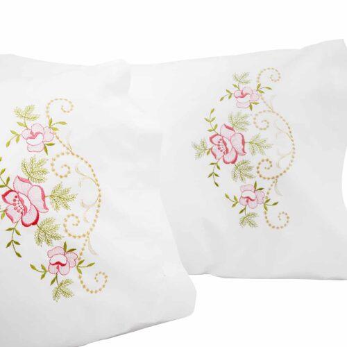 Μαξιλαροθήκες κέντημα τριαντάφυλλα ροζ