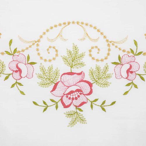 Μαξιλαροθήκες κέντημα τριαντάφυλλο ροζ 1