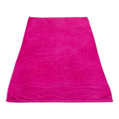 Πετσέτα θαλάσσης δελφίνι φούξια