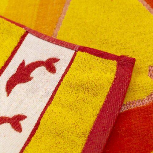 Πετσέτα θαλάσσης δελφίνι πορτοκαλί/κίτρινο