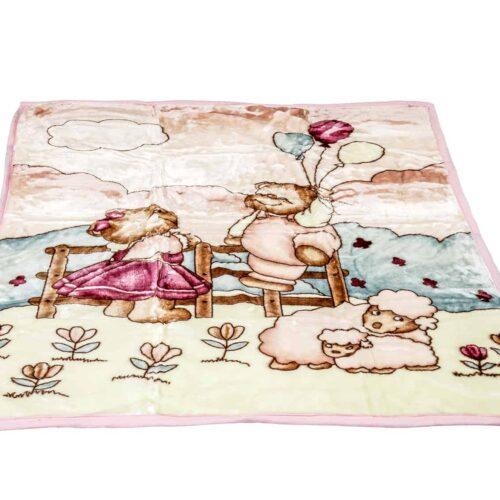 Κουβέρτα κούνιας βελουτέ προβατάκι