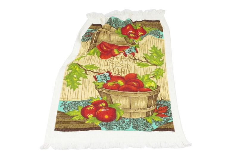 Πετσέτα κουζίνας καλάθι με μήλα